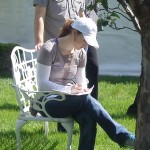 Jockey Rosie Napravnik in Museum garden