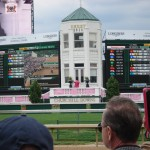 Churchill Downs pagoda decked out in pink