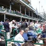 Looking down the stands to the Grandstand