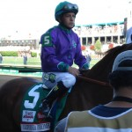 California Chrome with Victor Espinoza aboard in Derby post parade