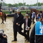 Trainer Doug O'Neill on the way to the paddock for Derby