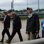 Trainer Shup Mc Gaughey walking to paddock