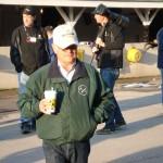 Winning trainer Art Sherman enjoying his coffee