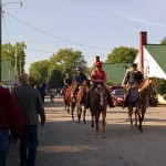 Horses heading to the track