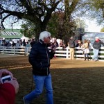 Trainer Bob Baffert going to the track