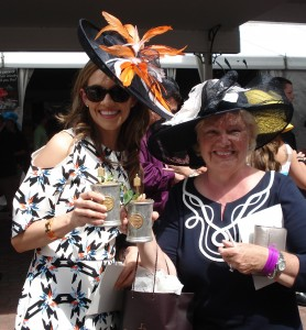 Kentucky Derby Tours 2015 members Allison and Susan with the $1000 Woodford Reserve Mint Juleps at Churchill Downs (a benefit for horse rescue)