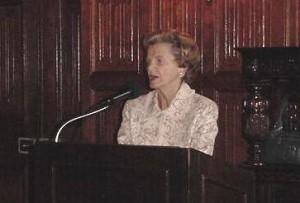 Penny Chenery speaking at Kentucky Derby Tours lunch in Lexington in 2004